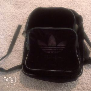 Adidas black suede backpack